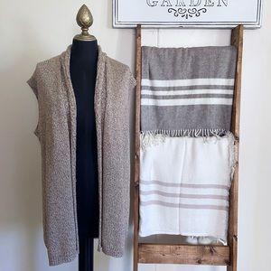 Chico's Sleeveless Knit Open Vest Cardigan Light Brown Metallic Size Medium